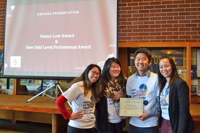 Photo of mid-level award recipient, James Kato, with APASA cochairs and past chair.